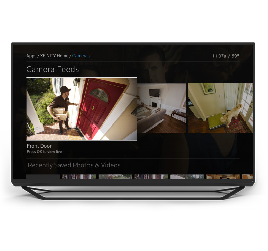 Xfinity Home cameras displayed on TV